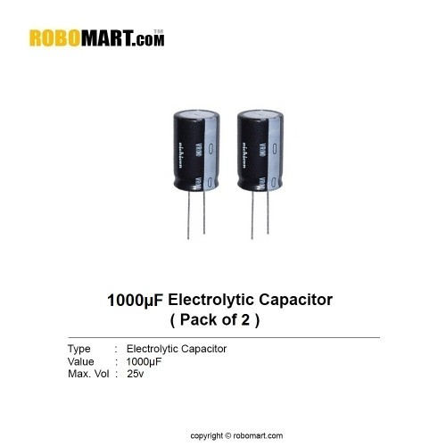 1000µF 25v Electrolytic Capacitor