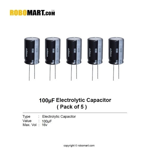 100µF 16v Electrolytic Capacitor (Pack of 5)