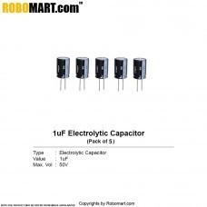 1µF 50v Electrolytic Capacitor (Pack of 5)