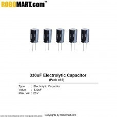 330µF 25v Electrolytic Capacitor (Pack of 5)