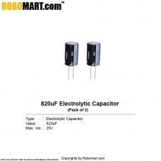 820µF 25v Electrolytic Capacitor (Pack of 2)