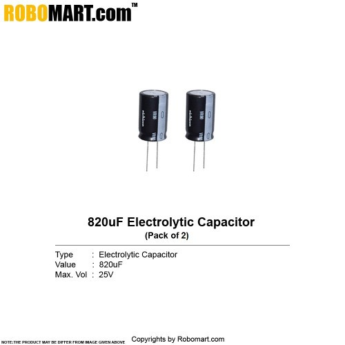 820µf 25v electrolytic capacitor