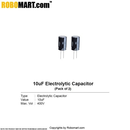 10µf 400v electrolytic capacitor