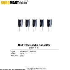 10uF 200v Electrolytic Capacitor (Pack of 5)