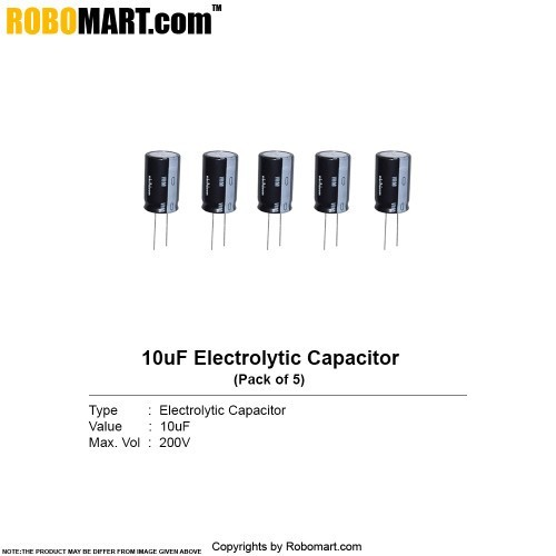 10µf 200v electrolytic capacitor