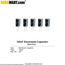 100µF 25v Electrolytic Capacitor (Pack of 5)