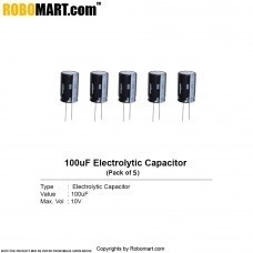 100µF 10v Electrolytic Capacitor (Pack of 5)