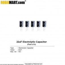 22µF 16v Electrolytic Capacitor (Pack of 5)