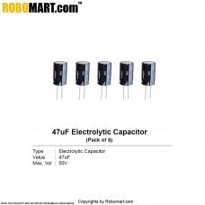 47µF 50v Electrolytic Capacitor (Pack of 5)