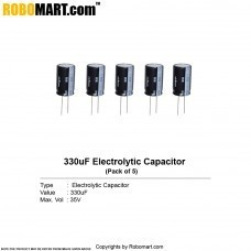 330µF 35v Electrolytic Capacitor (Pack of 5)