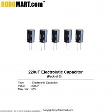 220µF 35v Electrolytic Capacitor (Pack of 5)
