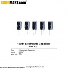 100µF 50v Electrolytic Capacitor (Pack of 5)