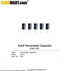 6.8µF 50v Electrolytic Capacitor (Pack of 5)
