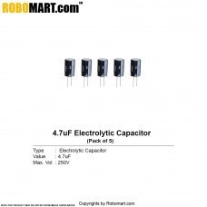 4.7µF 250v Electrolytic Capacitor (Pack of 5)