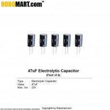 47µF 25v Electrolytic Capacitor (Pack of 5)