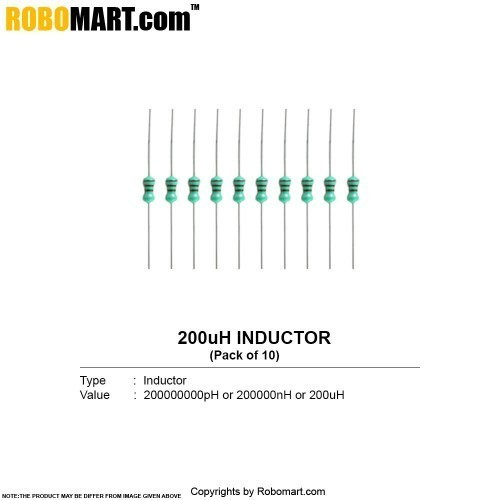 200 microhenry inductor