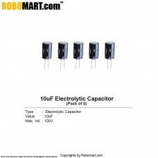 10µF 100v Electrolytic Capacitor (Pack of 5)