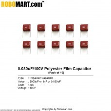 3000pF 100v (302pF) Polyester Film Capacitor (Pack of 10)