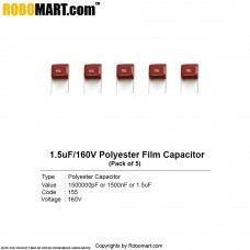 1.5uF 160v Polyester Film Capacitor (Pack of 5)