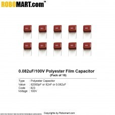 0.082uF 100v Polyester Film Capacitor (823pF) (Pack of 10)