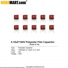 0.15uF 100v Polyester Film Capacitor (155pF) (Pack of 10)