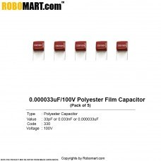 33pF/0.000033uF/100V Polyester Film Capacitor(Pack of 5)
