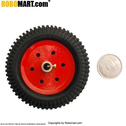 "3'' Tyre + 2"" Metal Pully 4 MM Shaft for Arduino/Raspberry-Pi/Robotics"