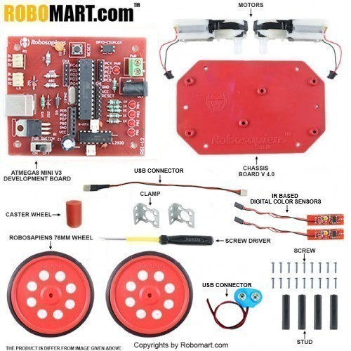 Autonomous Robotics Workshop Kit using Atmega 8  for All Workshop Companies, College Clubs, Entrepreneurs(Standard Kit)