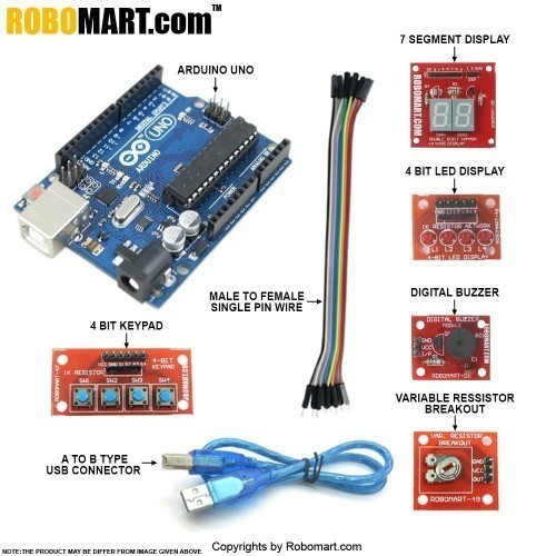 Arduino Workshop Kit using  Arduino Uno with Atmega 328 for all workshop companies/college clubs/entrepreneurs (Standard Kit)