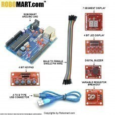 Arduino Workshop Kit using Robomart Arduino Uno with Atmega 8 for all workshop companies/college clubs/entrepreneurs (Standard Kit)