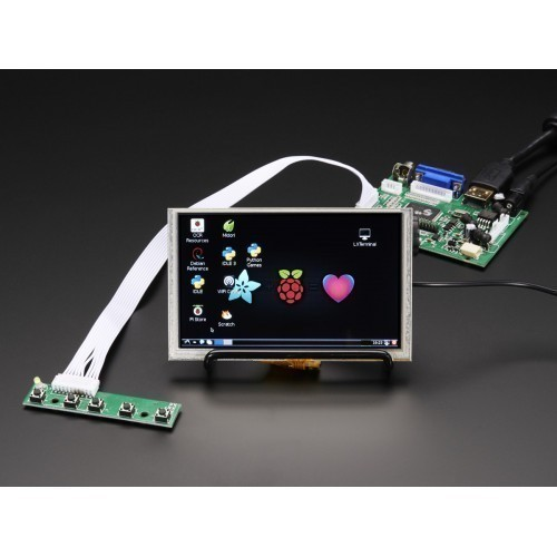 "HDMI 4 Pi: 5"" Display (w/Touch) 800x480 - HDMI/VGA/NTSC/PAL"