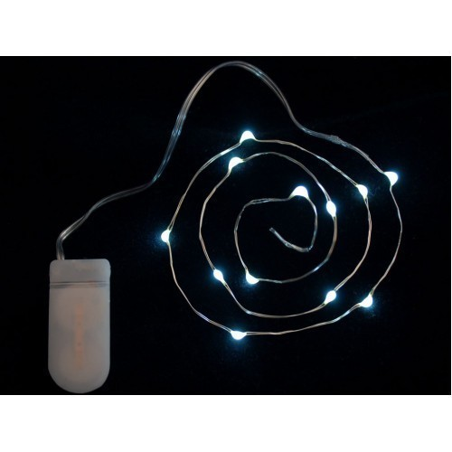 Wire Light LED Strand - 12 Cool White LEDs + Coin Cell Holder