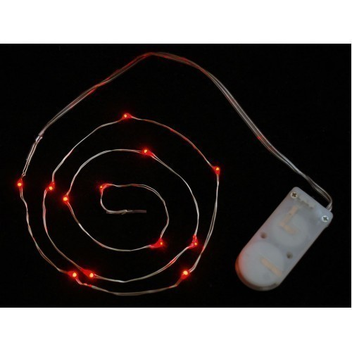 Wire Light LED Strand - 12 Red LEDs + Coin Cell Holder