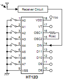 HT12D Decoder IC 8-Bit Address 4-Bit Data