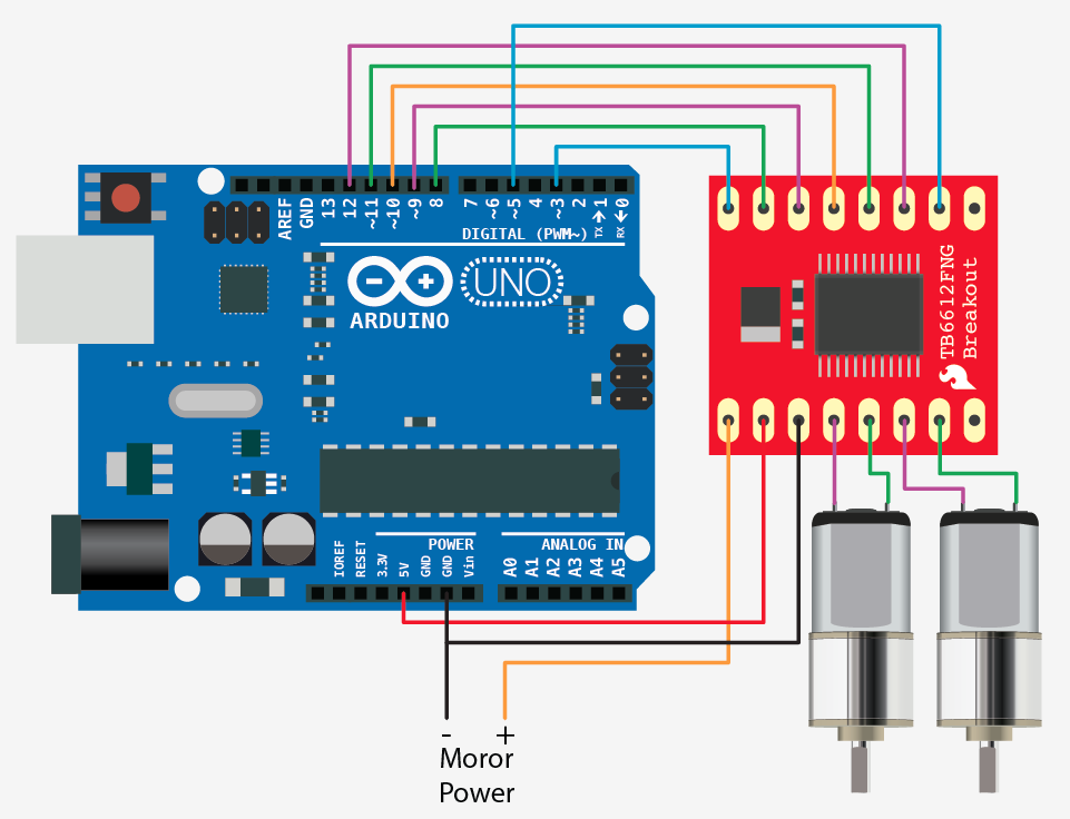 Dual motor driver a tb fng for arduino microcontroller