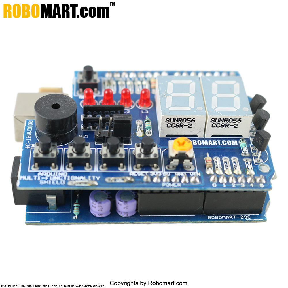 ROBOMART Arduino Board (ATMEGA 8A) With 6 Bit Keypad & LED Arduino Shield